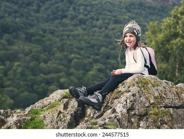 Shot of a Young Hiking Girl in the Lake District
