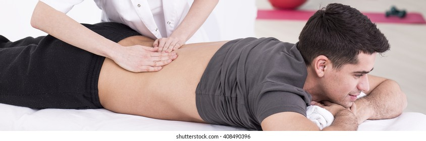Shot of a young man receiving a massage