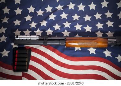 Shotgun American flag background.