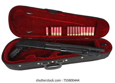 shotgun with cartridges in violin case isolated on white background