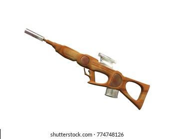 shotgun with scope 3D rendering