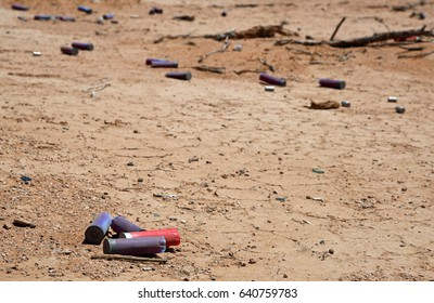 Shotgun shells on the ground in a desolate environment in the Arizona desert on May 3, 2017 outside Casa Grande