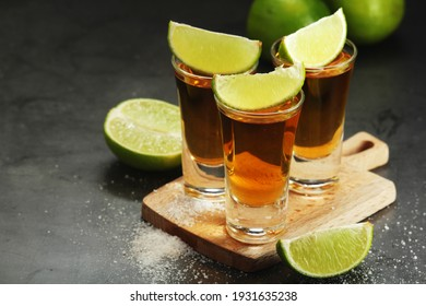 Shots with tequila with salt and lime