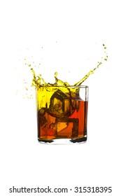 shots of whiskey with splash Isolated on white background