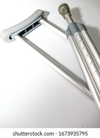 Shoulder crutches close up with white background