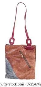 shoulder handbag sawn from leather pieces isolated on white background