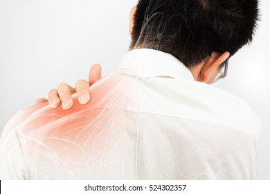 shoulder muscle pain white background