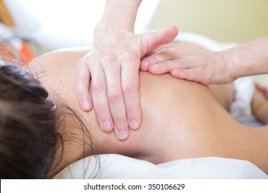 shoulder and neck massage closeup