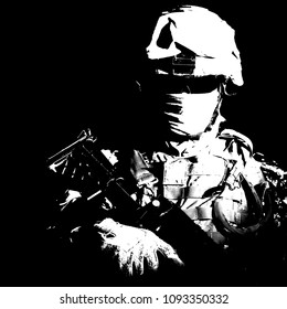 Shoulder portrait of war, military conflict combatant, army special forces soldier, counter terrorist forces fighter armed with rifle in combat helmet, glasses and mask cropped on black background