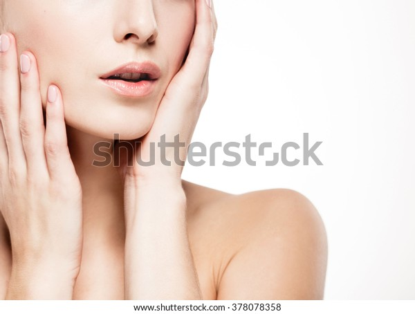Shoulders hands fingers lips woman studio skin portrait isolated on white