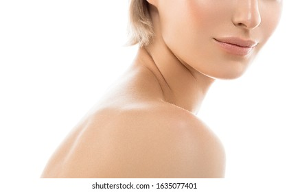 Shoulders neck woman lips collarbone chin back