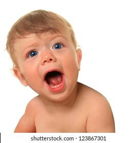Shouting baby boy, ten months old.