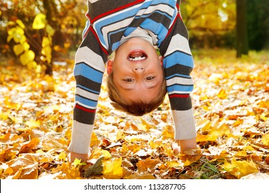 Shouting boy upside down on yellow leaves
