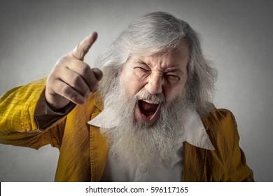 Shouting elderly man