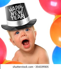 Shouting Happy New Year baby boy.