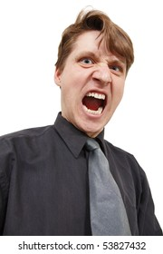 Shouting in rage man on a white background