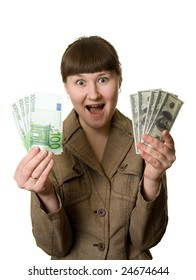 shouting surprised woman with euros and dollars