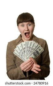 shouting woman with dollars' fan over white background