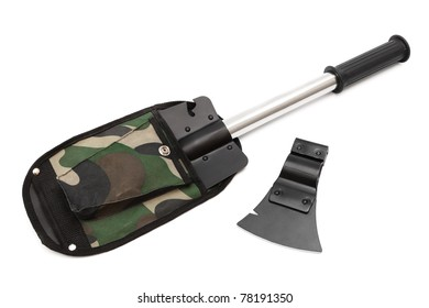 shovel and an ax on a white background