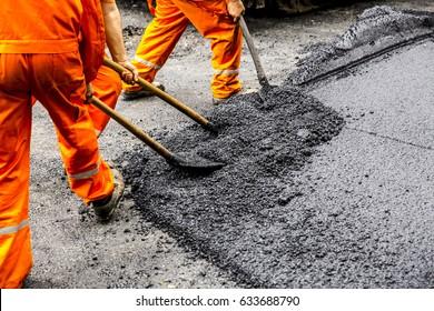 shovel with fresh asphalt