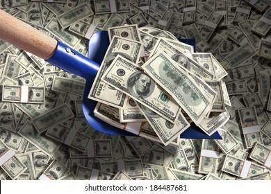 Shovel up money / studio photography of American moneys of hundred dollar