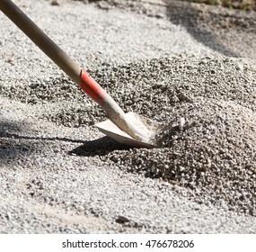 Shovel on road construction site