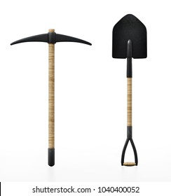 Shovel and pick axe isolated on white background. 3D illustration.