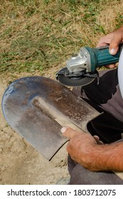 Shovel sharpening process with a power tool