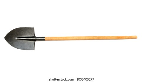 Shovel with wooden handle isolated on white background. Flat lay, top view