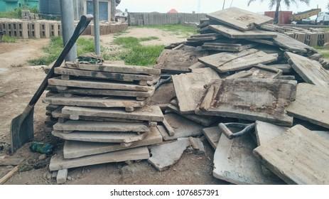 Shovels with old wooden slabs