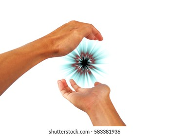 Show both hands gesture create energy.
