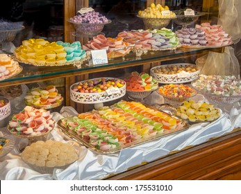 Show Case of a Patisserie with Pastry on Display