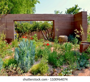 Show gardens at RHS Chelsea flower show, annual famous horticulture event in Chelsea, London, England UK. May 2018