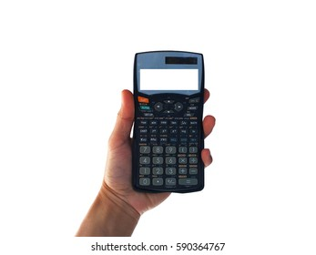 show hand is holding Scientific Calculator isolated on white clipping path inside.