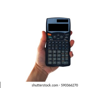 show hand is holding Scientific Calculator isolated on black clipping path inside.