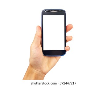 show hand is holding smart phone isolated on white clipping path inside.