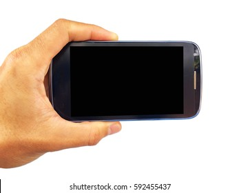 show hand is holding smart phone by horizontal with isolated on black clipping path inside.