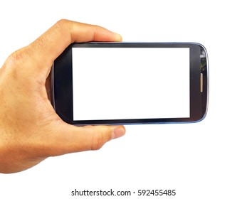 show hand is holding smart phone by horizontal with isolated on white clipping path inside.