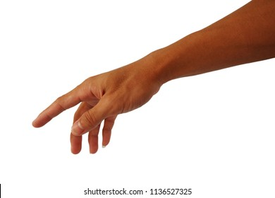 show hand of man with forefinger reach down for point and touch isolated on white background