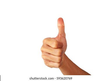 "show Hand is a symbol that ""Great!"" on a white background.Which is the Asian male hand.Skin color is off-white to dark red.The shape of the hand is strong.This is a healthy Asian guy."