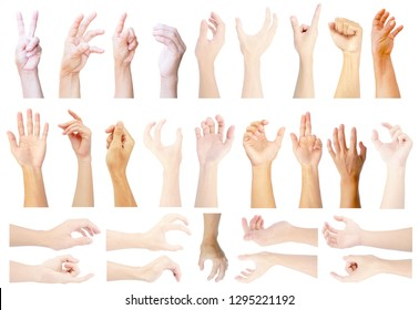 show hand up of vertical and horizontal in multiple collection hand isolated on white background