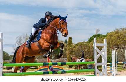 Show jumping competition on horseback.
