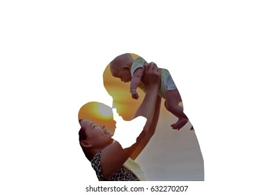 Show love between mother and baby on white background. Concept of Double Exposure.
