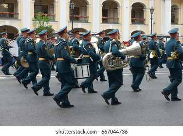 Show of military brass bands in St. Petersburg. Photo taken in St. Petersburg on June 12, 2017