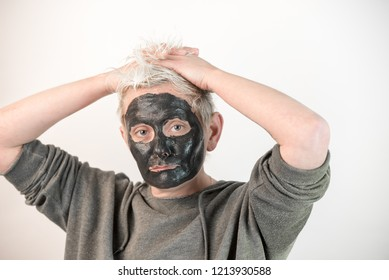 show pure emotions - face of a woman with a black mask