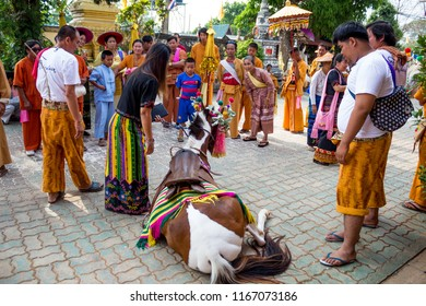 A show of traditional horse dance in a smaill village festival in Wiang Haeng, Chiang Mai, Thailand, on Thailand-Myanmar border, 30th April 2017