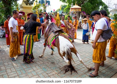 A show of traditional horse dance in a smaill village festival on Thai-Myanmar border 30th April 2017
