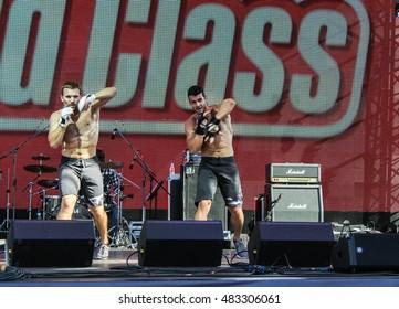 Show two men on stage. St. Petersburg, Russia - 12 August, 2016. Sport dancing men on Harley Davidson festival in St. Petersburg.