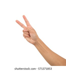 Show Victory sign,for success business concept,isolate on white background