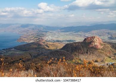 Showashinzan scenery in Hokkaido, Japan.